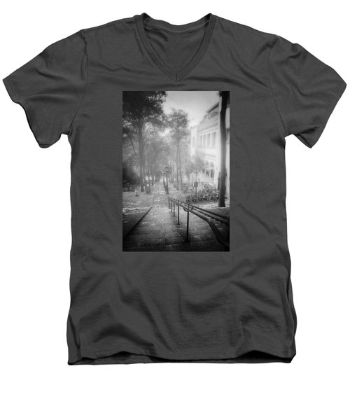 Men's V-Neck T-Shirt featuring the photograph Fog In Montmartre by John Rivera
