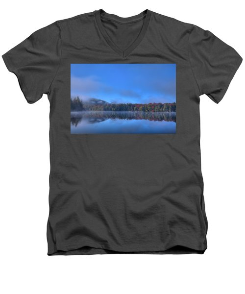 Men's V-Neck T-Shirt featuring the photograph Fog Lifting On West Lake by David Patterson
