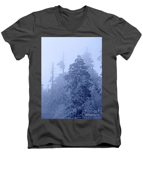 Men's V-Neck T-Shirt featuring the photograph Fog On The Mountain by John Stephens