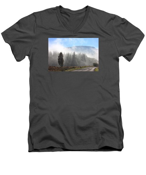 Men's V-Neck T-Shirt featuring the photograph Fog On The Road To Fintry by RKAB Works