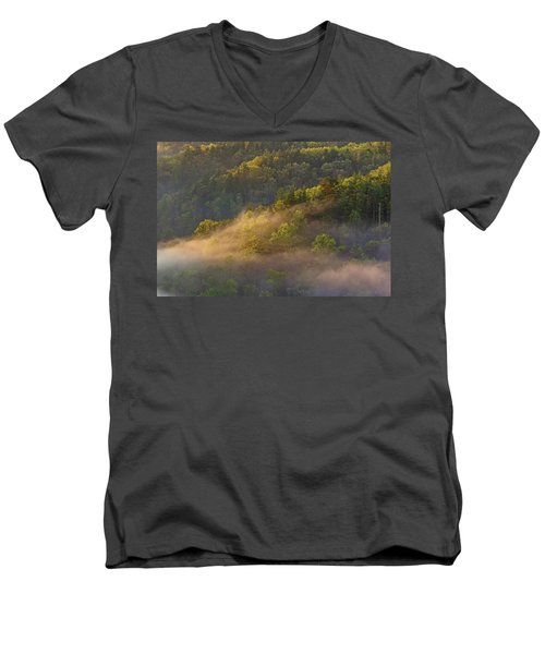 Fog Playing In The Forest Men's V-Neck T-Shirt by Ulrich Burkhalter