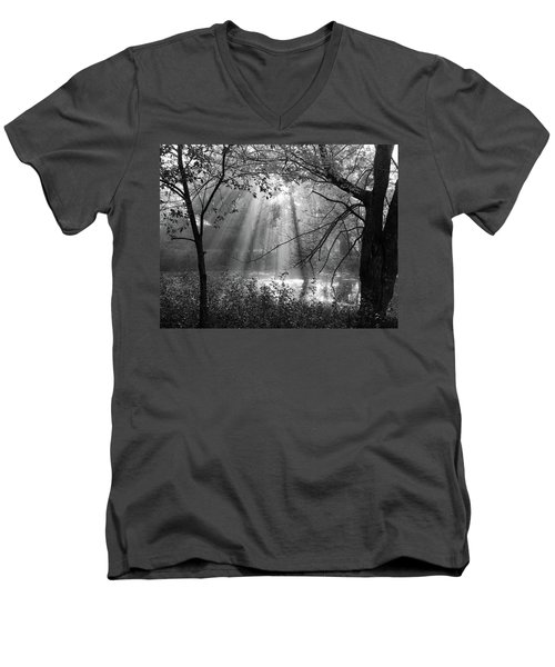 Fog Rays Men's V-Neck T-Shirt by Betsy Zimmerli