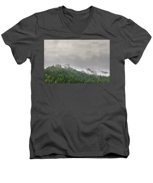 Fog Rolling Over Columbia River Gorge Men's V-Neck T-Shirt