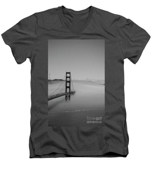 Men's V-Neck T-Shirt featuring the photograph Fogging The Bridge by David Bearden