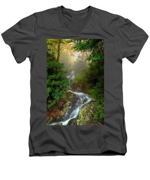 Foggy Autumn Cascades Men's V-Neck T-Shirt