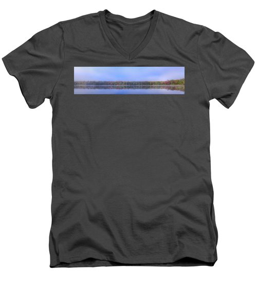 Men's V-Neck T-Shirt featuring the photograph Foggy Autumn Panorama by David Patterson