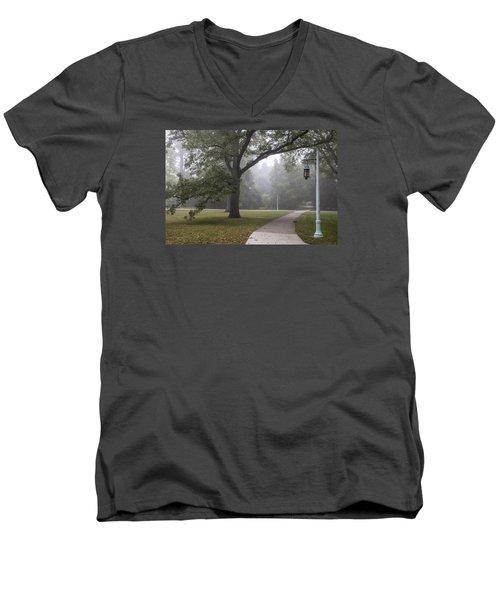 Foggy Campus  Men's V-Neck T-Shirt by John McGraw