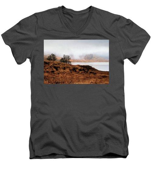 Foggy Day At Loch Arklet Men's V-Neck T-Shirt by Jeremy Lavender Photography