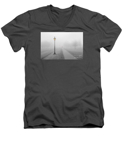Foggy Day In France Men's V-Neck T-Shirt by Jim  Hatch