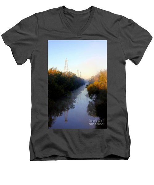 Foggy Fall Morning On The Sabine River Men's V-Neck T-Shirt by Kathy  White