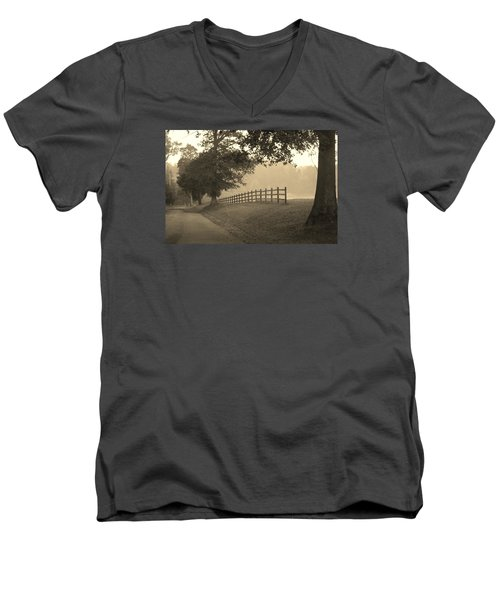 Foggy Fence Line Men's V-Neck T-Shirt