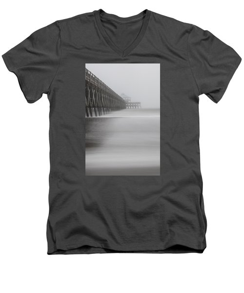 Foggy Folly Beach Pier Men's V-Neck T-Shirt