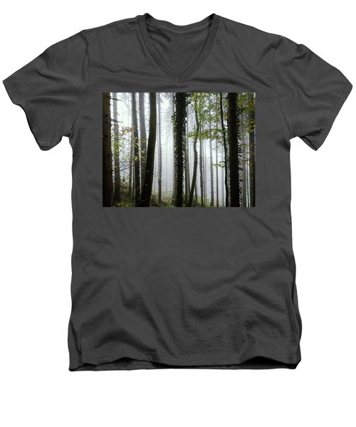Men's V-Neck T-Shirt featuring the photograph Foggy Forest by Chevy Fleet