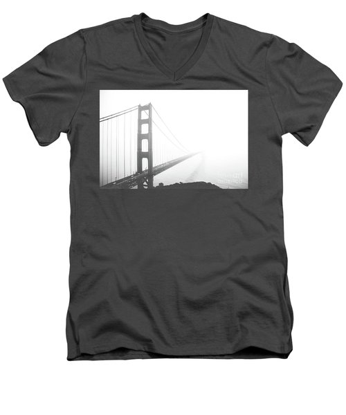 Men's V-Neck T-Shirt featuring the photograph Foggy Golden Gate Bridge  by MGL Meiklejohn Graphics Licensing