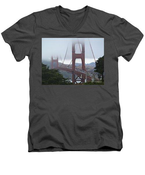 Foggy Golden Gate Men's V-Neck T-Shirt by Margaret Brooks