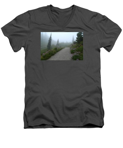 Men's V-Neck T-Shirt featuring the photograph Foggy In Paradise 2 by Lynn Hopwood