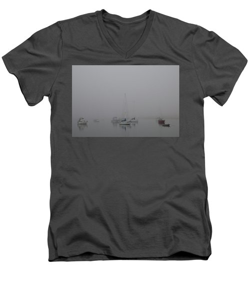 Men's V-Neck T-Shirt featuring the photograph Waiting Out The Fog by David Chandler