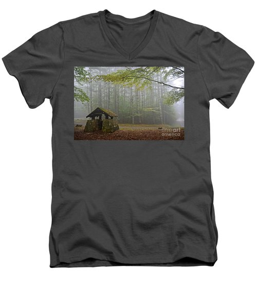 Foggy Morning At Droop Mountain Men's V-Neck T-Shirt