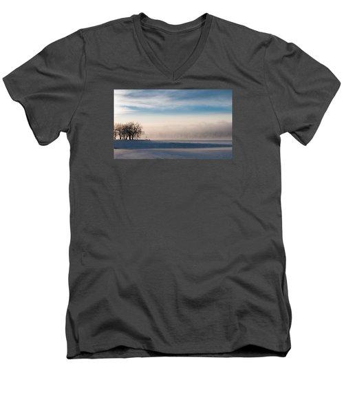 Men's V-Neck T-Shirt featuring the photograph Foggy Morning At Lake Loveland by Monte Stevens