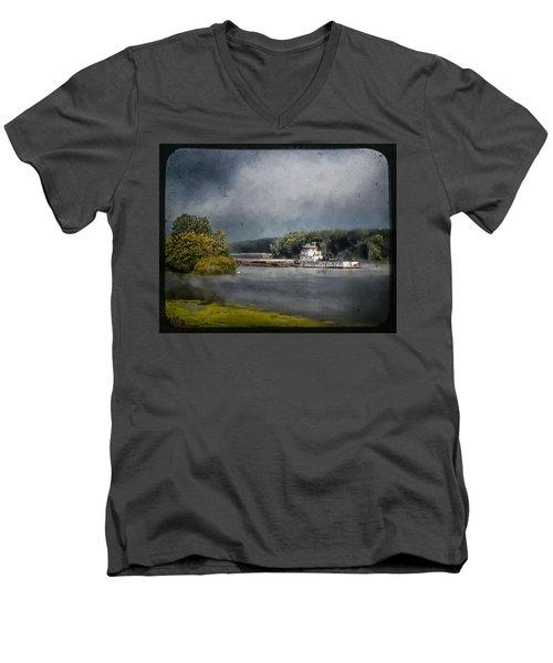 Foggy Morning At The Barge Harbor Men's V-Neck T-Shirt