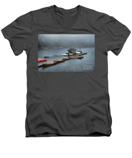 Foggy Morning At The Lake  Men's V-Neck T-Shirt by Judy Palkimas