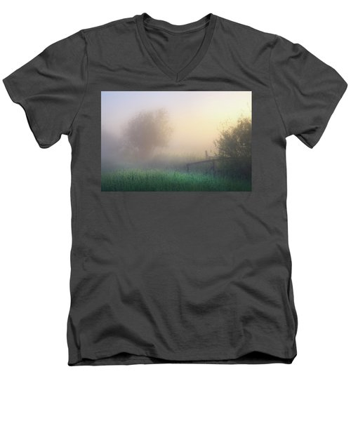 Men's V-Neck T-Shirt featuring the photograph Foggy Morning by Dan Jurak
