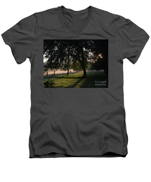 Men's V-Neck T-Shirt featuring the photograph Foggy Morning by Mark McReynolds
