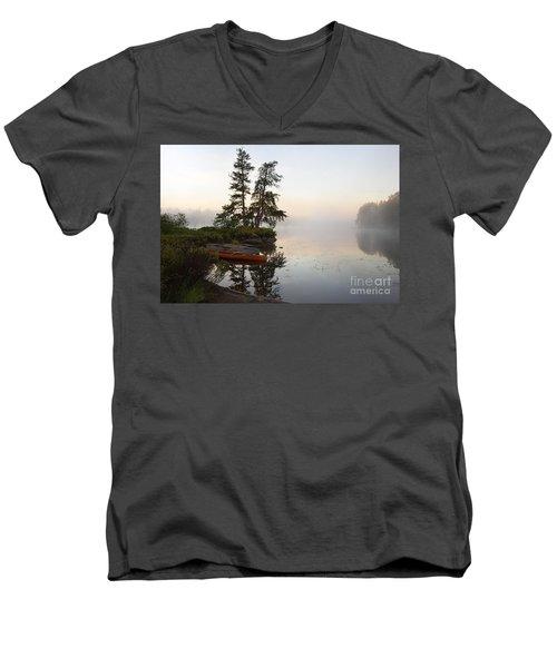 Foggy Morning On The Kawishiwi River Men's V-Neck T-Shirt