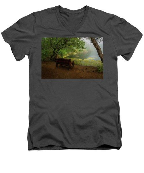 Foggy Morning On The Pond Men's V-Neck T-Shirt