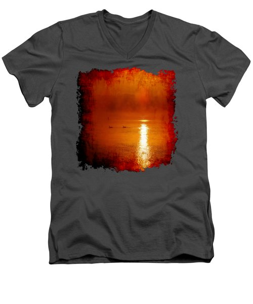 Foggy Morning On The River Men's V-Neck T-Shirt by Nick Kloepping