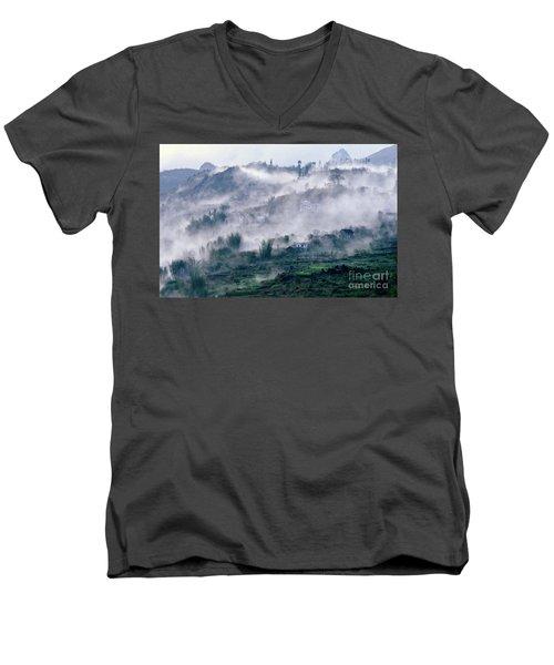 Foggy Mountain Of Sa Pa In Vietnam Men's V-Neck T-Shirt