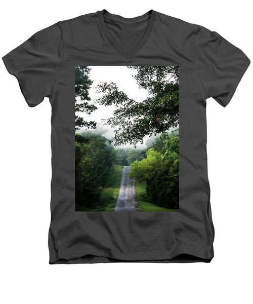 Men's V-Neck T-Shirt featuring the photograph Foggy Road To Eternity  by Shelby Young