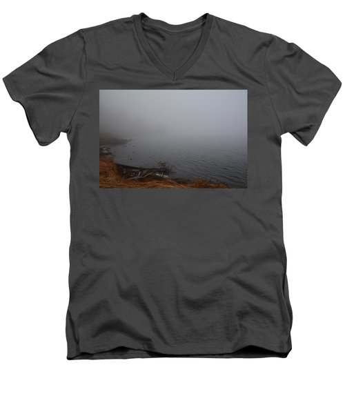 Foggy Shore Men's V-Neck T-Shirt by Jenessa Rahn