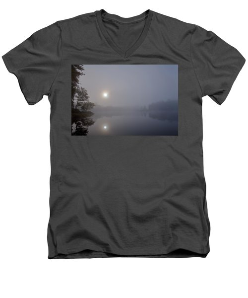 Men's V-Neck T-Shirt featuring the photograph Foggy Sunrise On West Lake by David Patterson