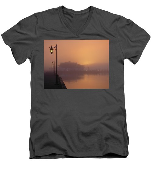 Men's V-Neck T-Shirt featuring the photograph Foggy Sunrise by Robert Henne