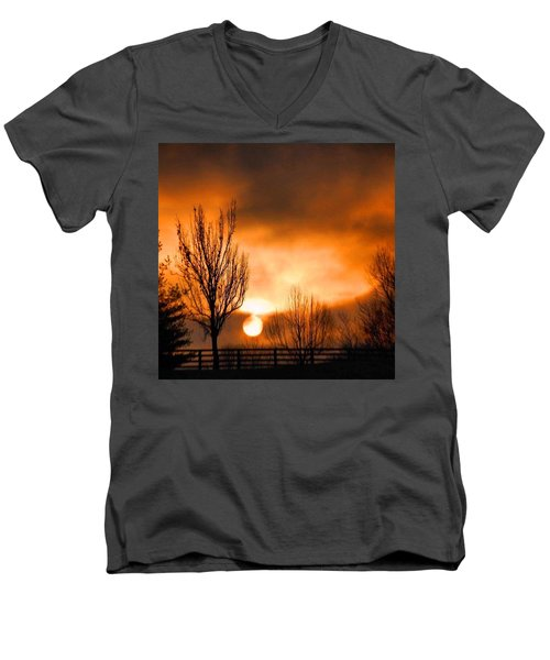 Men's V-Neck T-Shirt featuring the photograph Foggy Sunrise by Sumoflam Photography