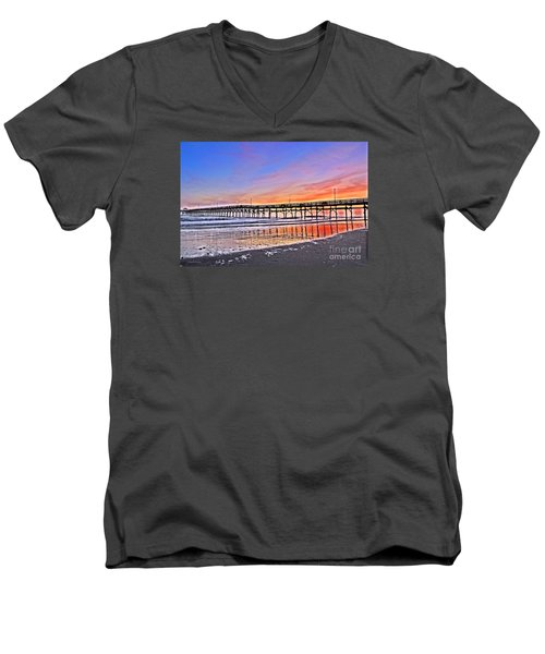 Men's V-Neck T-Shirt featuring the photograph Foggy Sunset by Shelia Kempf