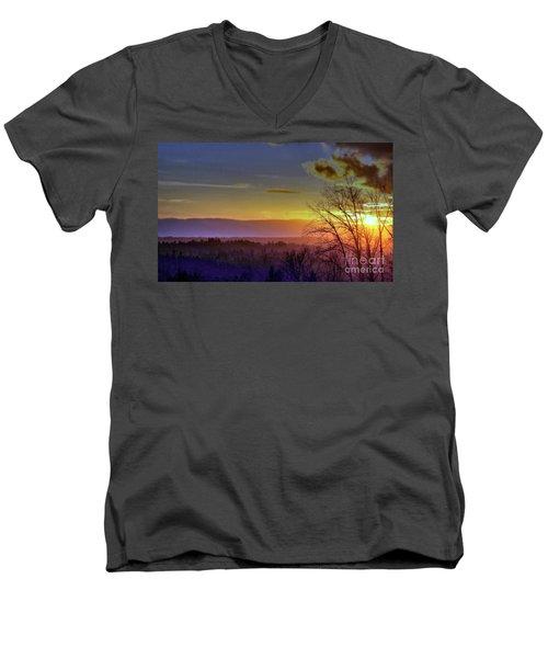 Foggy Sunset Men's V-Neck T-Shirt by Victor K