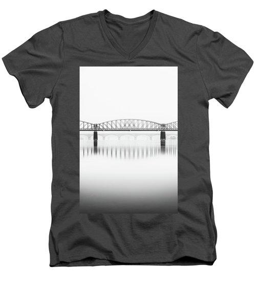Foggy Winter Mood At Vltava River. Reflection Of Bridges In Water. Black And White Atmosphere, Prague, Czech Republic Men's V-Neck T-Shirt