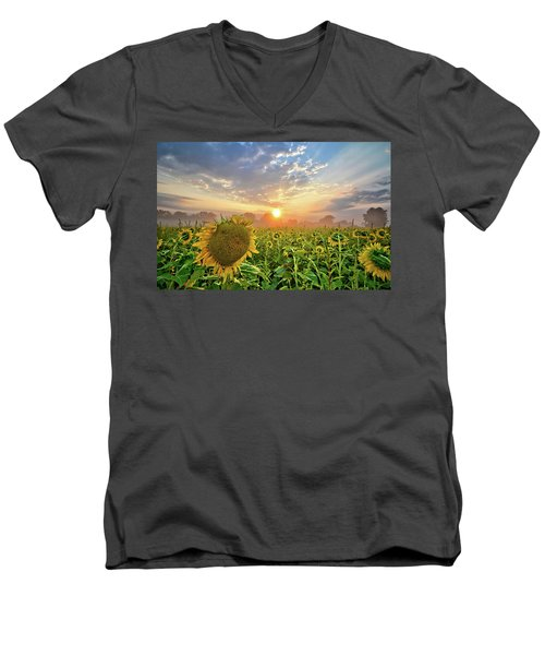 Foggy Yellow Fields Men's V-Neck T-Shirt