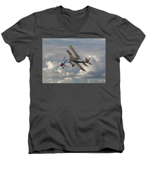 Men's V-Neck T-Shirt featuring the digital art Fokker Dvll And Se5 Head To Head by Pat Speirs