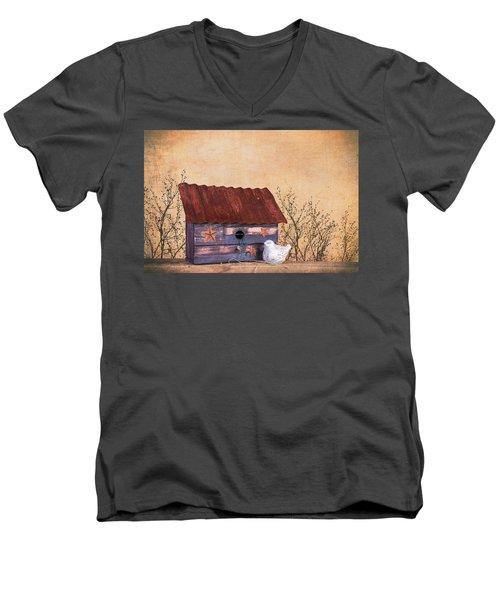 Men's V-Neck T-Shirt featuring the photograph Folk Art Birdhouse Still Life by Tom Mc Nemar