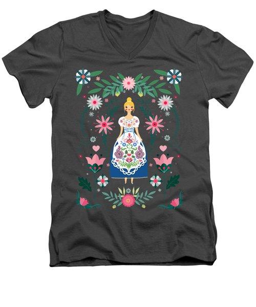 Folk Art Forest Fairy Tale Fraulein Men's V-Neck T-Shirt