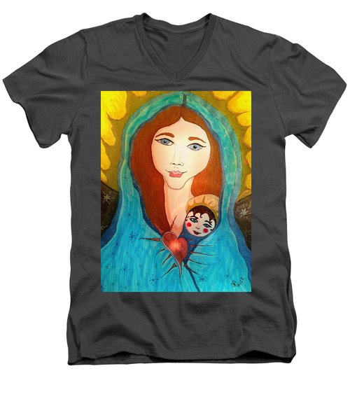 Folk Mother And Child Men's V-Neck T-Shirt