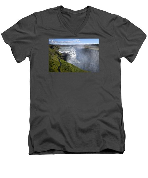 Follow Life's Path Men's V-Neck T-Shirt by Lucinda Walter