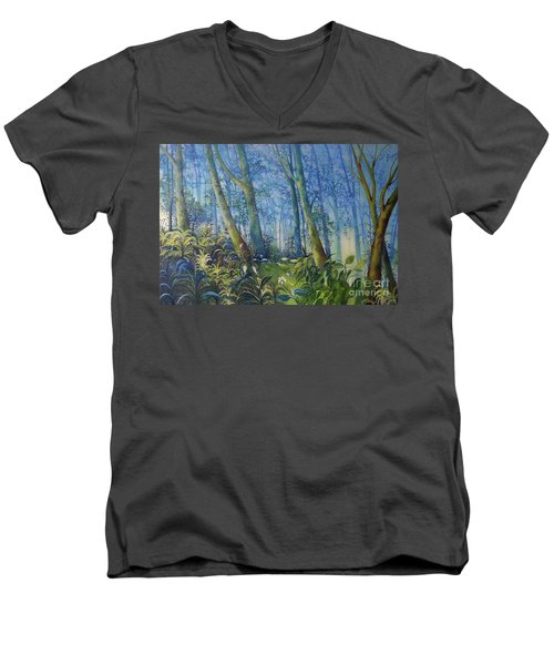 Follow Me Oil Painting Of A Magic Forest Men's V-Neck T-Shirt by Maja Sokolowska