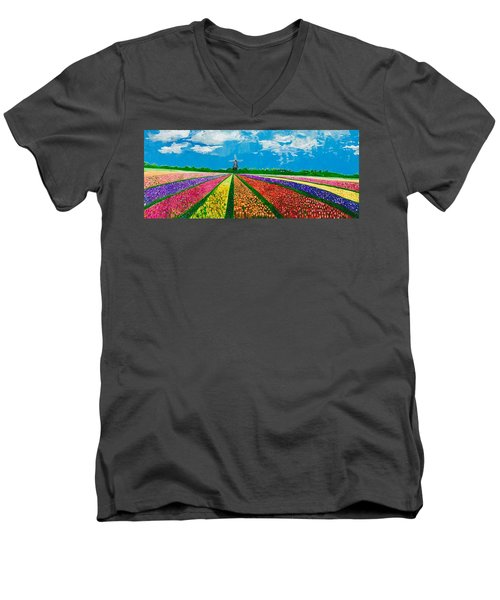 Follow The Rainbow Men's V-Neck T-Shirt by Belinda Low