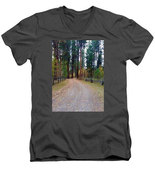 Follow The Road Less Traveled Men's V-Neck T-Shirt by Jennifer Lake