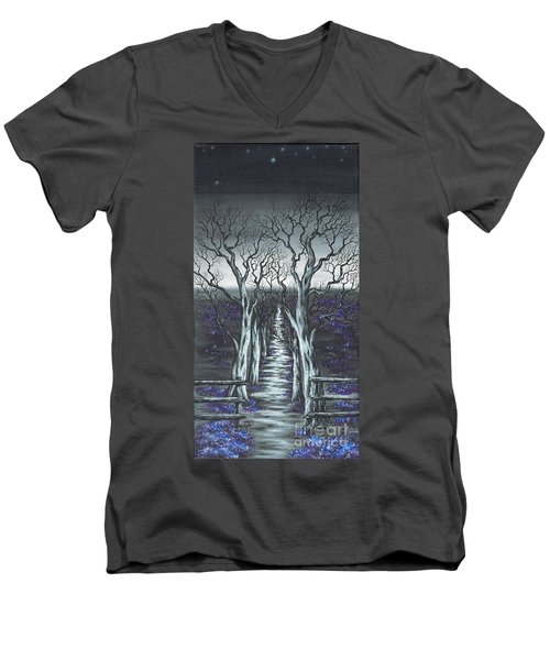 Men's V-Neck T-Shirt featuring the painting Follow The Stars by Kenneth Clarke