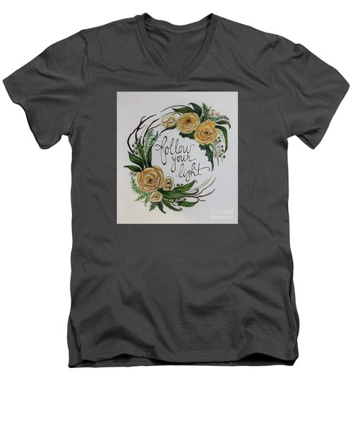 Men's V-Neck T-Shirt featuring the painting Follow Your Light by Elizabeth Robinette Tyndall